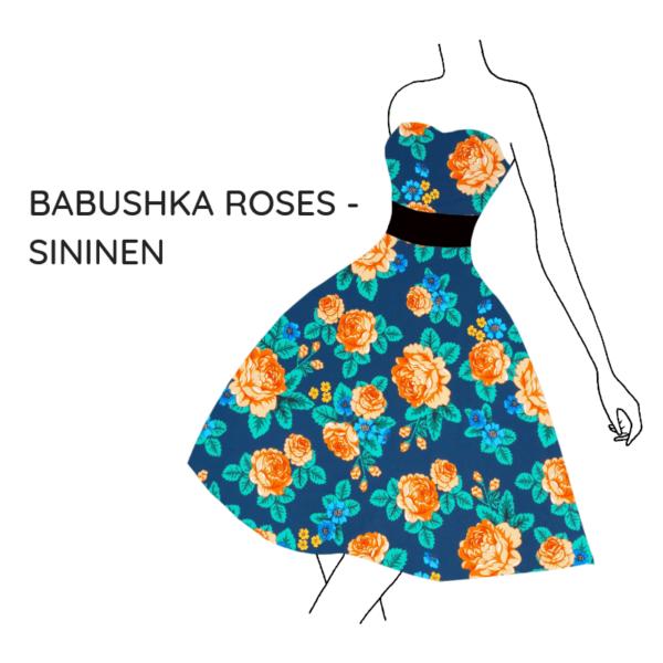 Kankaat babushka roses sininen