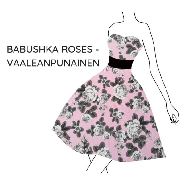 Kankaat babushka roses vaaleanpunainen