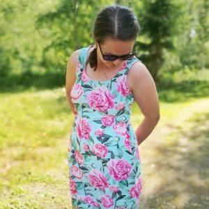 Naiset venus mekko pionit turkoosi